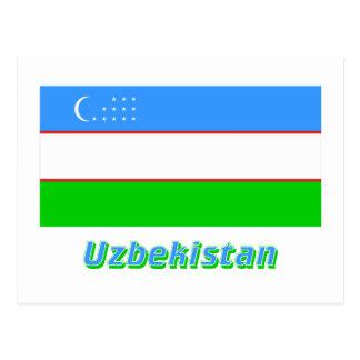 Uzbekistan Flag with Name Post Cards