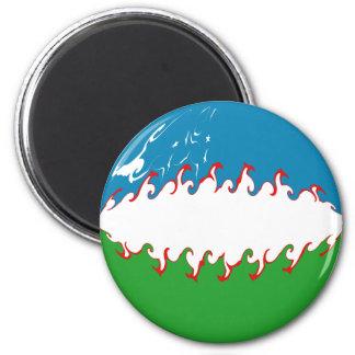 Uzbekistan Gnarly Flag 6 Cm Round Magnet