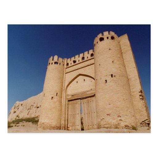 uzbekistan samarqand gate postcard