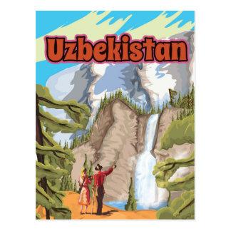 Uzbekistan vintage travel poster postcard