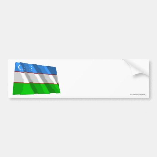 Uzbekistan Waving Flag Bumper Sticker