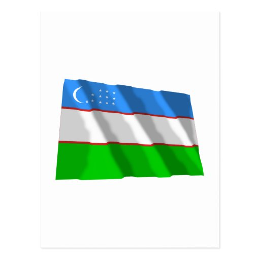 Uzbekistan Waving Flag Post Cards