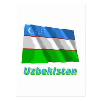 Uzbekistan Waving Flag with Name Postcard