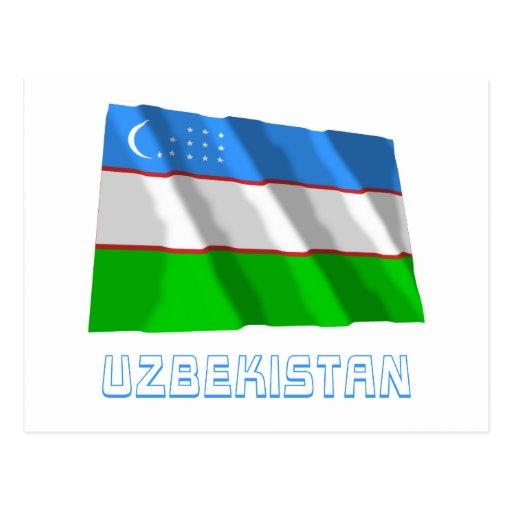 Uzbekistan Waving Flag with Name Post Card