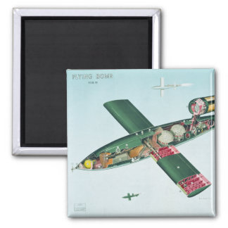 V1 Flying Bomb Square Magnet