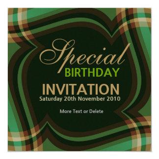 v2. Green Gold Tartan Square Invitation