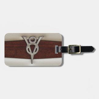 V8 Chrome Emblem Leather and Wood Bag Tag