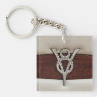 V8 Chrome Emblem Leather and Wood Square Acrylic Keychain