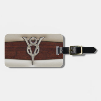 V8 Chrome Emblem Leather and Wood Luggage Tag