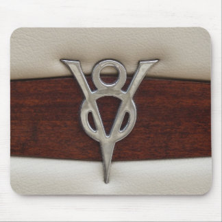 V8 Chrome Emblem Leather and Wood Mouse Pad