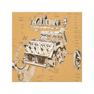 V8 engine canvas print