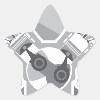 V8 engine cross section vector star sticker