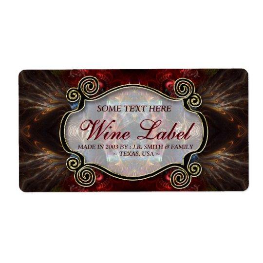 v.4 Mediaeval Fractals Gold Black & Red Wine Shipping Label