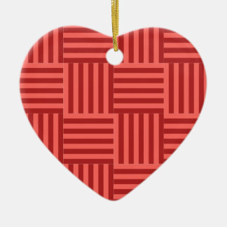 V and H Broad Stripes - Pastel Red and Firebrick Ceramic Heart Decoration