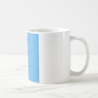 V and H Simple Zigzag - Blizzard Blue and Azure Basic White Mug