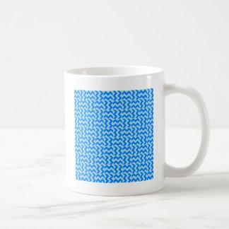 V and H Wide Zigzag - Blizzard Blue and Azure Basic White Mug