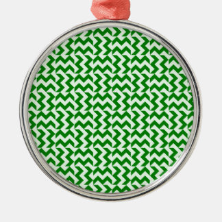 V and H Wide Zigzag - Offwhitegreen and Green Silver-Colored Round Decoration