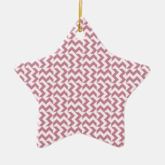 V and H Wide Zigzag - Pink Lace and Puce Double-Sided Star Ceramic Christmas Ornament