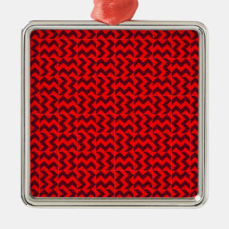 V and H Wide Zigzag - Red and Dark Scarlet Christmas Tree Ornaments