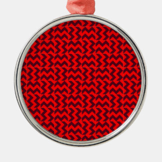 V and H Wide Zigzag - Red and Dark Scarlet Silver-Colored Round Decoration
