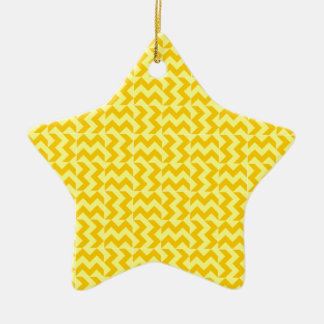 V and H Wide Zigzag - Yellow and Tangerine Yellow Ceramic Star Decoration