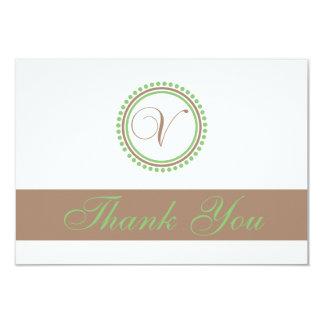 V Dot Circle Monogam Thank You Cards (Brown/Mint) Custom Announcement