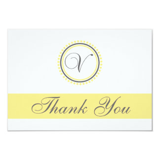 V Dot Circle Monogam Thank You Cards (Yellow/Gray) 9 Cm X 13 Cm Invitation Card