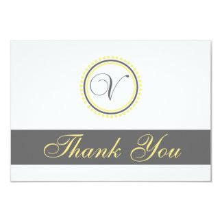 V Dot Circle Monogam Thank You Cards (Yellow/Gray) Invitations