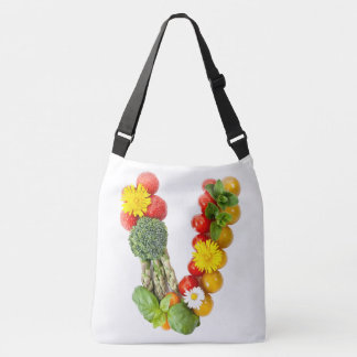 V egetable with Flowers Crossbody Bag