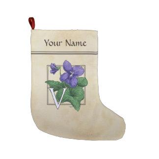V for Violet Flower Alphabet Monogram Large Christmas Stocking