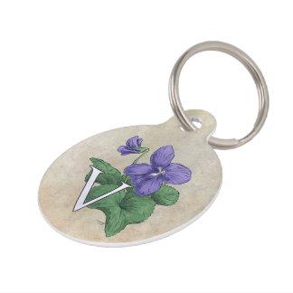 V for Violet Flower Alphabet Monogram Pet Name Tags