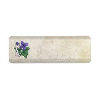 V for Violets Flower Monogram Return Address Label