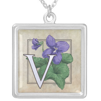 V for Violets Flower Monogram Silver Plated Necklace