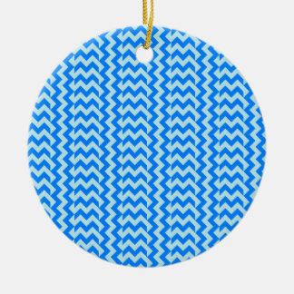 V&H Simple Wide Zigzag - Blizzard Blue and Azure Christmas Ornament