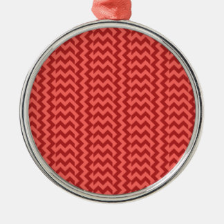 V&H Simple Wide Zigzag - Pastel Red and Firebrick Silver-Colored Round Decoration
