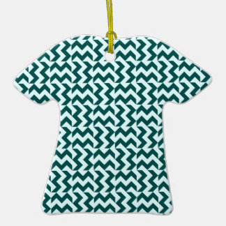 V&H Wide Zigzag - Celeste and Deep Jungle Green Double-Sided T-Shirt Ceramic Christmas Ornament