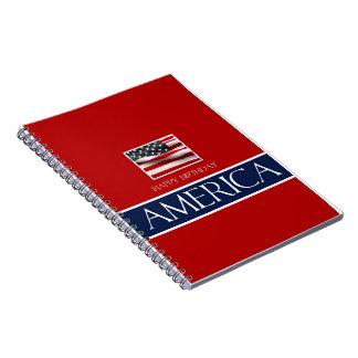 v   Haopy birthday America 4th July.jpg Spiral Notebook