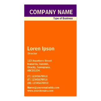 V Header Band - Deep Purple, Cream and Orange Pack Of Standard Business Cards