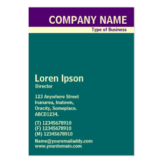 V Header Band - Deep Purple, Cream and Teal Pack Of Chubby Business Cards