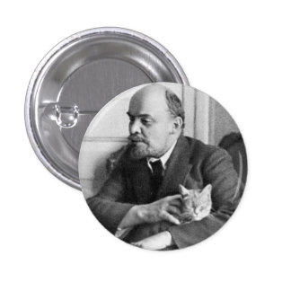 V.I. Lenin pets a Cat Small, 1¼ Inch Round Button