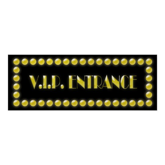V.I.P. Entrance Sign Hollywood Lights Poster