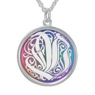 """V Initial Monogram """"Blue Gothic Whimsy"""" Necklace Sterling Silver Necklace"""