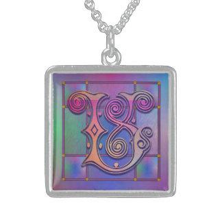 "V Initial Monogram ""Blue Rain Glass"" Necklaces Pendant"