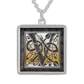 "V Initial Monogram ""Celtic Black Stone"" Necklaces Pendant"