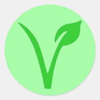 V is for Vegan Classic Round Sticker