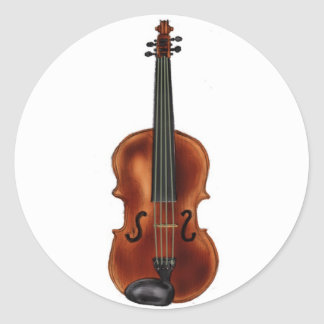 V is for Violin Round Sticker