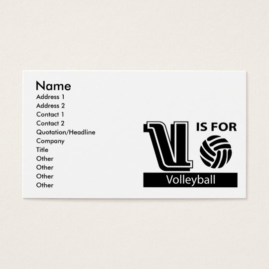 V Is For Volleyball Business Card