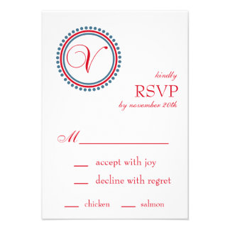 V Monogram Dot Circle RSVP Cards Red Blue