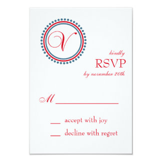 V Monogram Dot Circle RSVP Cards (Red / Blue) Custom Announcements