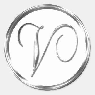 V Monogram Faux Silver Envelope Or Favor Seal Round Sticker